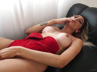 Smoking hot increased by ravenous shemale Victoria Carvalho is ergo good at wanking herself