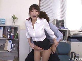 Amateur Japanese babe Ayami Shunka fingered and fucked in the office
