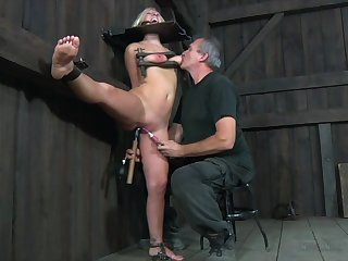 Buxom and dirty-minded blonde BDSM slut Crystal Frost gets masturbated