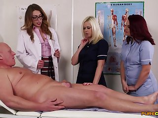Elder statesman guy gets his cock pleasured by horny Anna Joy and friends