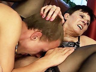 matriarch gets big cock toy boy fucked