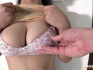 Hot sexy and busty Asian escort sucking a white flannel with love