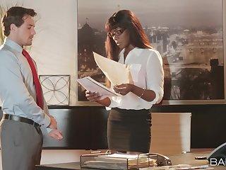 Ebony secretary Ana Foxxx gets her pussy fucked by her boss