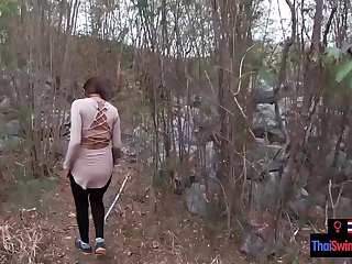 Real unpaid couple blowjob and sex outdoor in public on an island