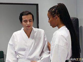 Self-defense teacher Kira Noir gets rough with a student
