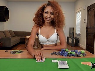 Curly woman plays with someone's skin dick in POV scenes after a poker game