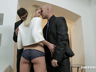 Wild blondie drops on her knees to make one dicks hard for a 3-way
