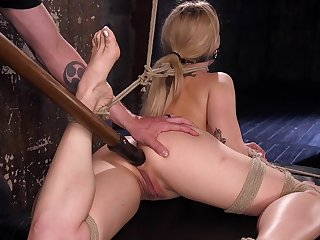 Anorexic model Dahlia Sky tied up upside down and tortured well