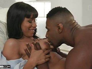 First-class ebony with saggy tits, nude porn on a blackguardly hammer