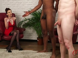 Foxy model Ella Rose enjoys watching a sombre ladies' stroke his penis