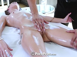 Kacy Lane enjoys upside far throat fuck on the massage table