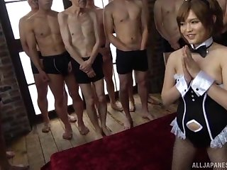 Sweet Japanese girl Ogata Runa enjoys getting fucked by lot be advantageous to men