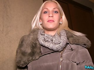 POV membrane of off colour blonde Cecilia Scott having sex for money