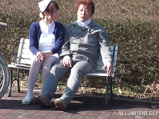 Oddball outdoors sex between a patient and a Japanese nurse