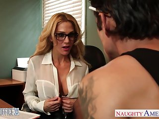 Busty tattooed blonde boss Sarah Jessie is nailed hard on a catch table