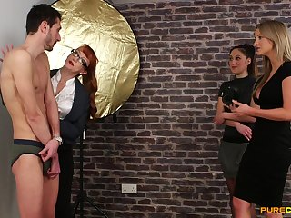 Skinny dude gets pleasured by naughty Samantha Dispatch-rider & Sienna Day