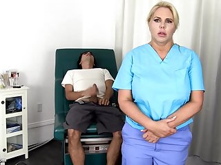 Sensuous, blondie nurse is using every chance less get screwed, unagitated supposing she is at work