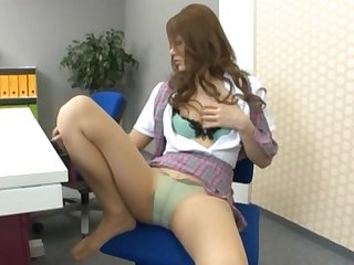 Just secretary Risa Tsukino enjoys drilling her pussy in the office