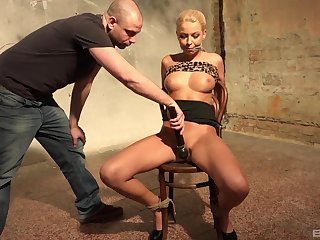 Blonde MILF tied up and restrained all over rough maledom XXX