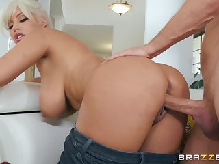 Blonde haired latina gets eaten out and fucked on the sofa