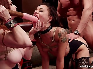 Ass Fucking and double penetrations 3some at bdsm party