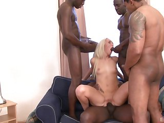 Long haired blonde Jenny Simons gangbanged and covered with cum
