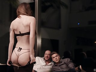 Petite submissive babe Misha Cross pounded hard by two guys
