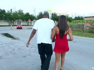 Long haired ebony slut Jayla Foxx rides a big black dick