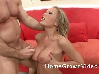 Cumshot on huge tits of a blonde pornstar after a hardcore fuck