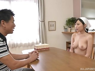 Busty Japanese maid Shiraishi Rin wants cum on her huge tits