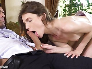 Delicate brunette babe Nelya gets her asshole pounded and cream pied