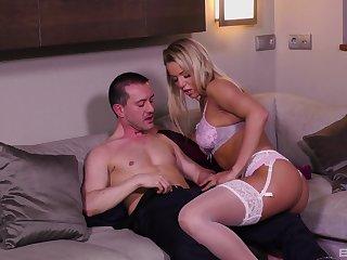 Blonde MILF bombshell Christen rides cock in stockings