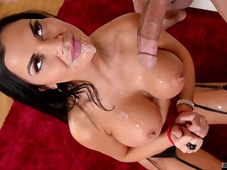 Jasmine Jae gets cum on her huge fake tits with her hands tied up