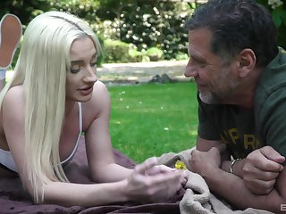 Blonde babe Angela Vital swallows cum outdoors from a stranger