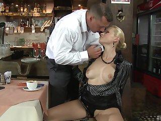 Mature blonde MILF Katy Sweet swallows cum after a hard fuck