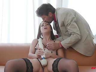 Hardcore rough sex for a brunette babe Alina Lopez as she masturbates