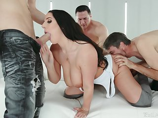 brunette busty MILF Angela White gang banged and cum filled