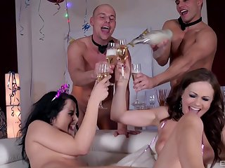 Hardcore foursome party ends with cum heavens Dolly Diore and Tina Kay feet