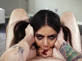Messy gagging blowjob with a Latina pro
