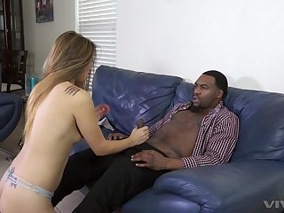 Blonde slut in high heels Nyomi Star blows added to rides a heavy black dick