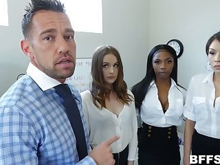 Johnny Castle enjoying some hot office reverse gangbang session with sexy hoes