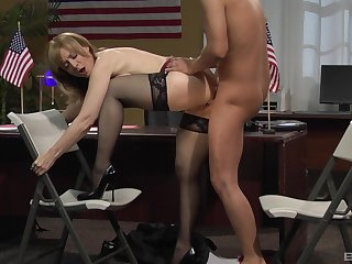 Tight mature fucked readily obtainable someone's skin office by someone's skin new guy