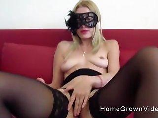 Masked blonde in stockings Vienna Black rides a hard big dick