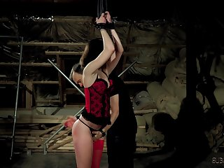 Play session with Master and his cute brunette slave girl