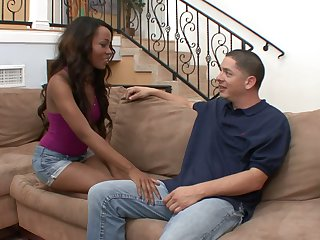 Black chick Karmin Renee is fucked and jizzed by hot blooded colourless fellow