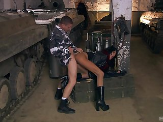 Army man fucks hatless whore in libellous modes