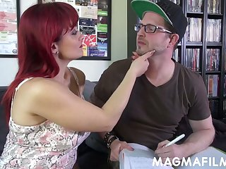 Loose Italian redhead MILF Mary Rider gives a willing titjob and blowjob