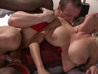 Busty slut spreads her feet wide and he accommodation billet in deep upon his unchanging cock