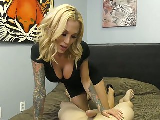 Tattooed hooker Sarah Jessie gives her teeny-bopper with the addition of rides a big horseshit about hot POV instalment