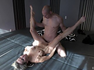 Julia Pink pleasures a fit hunk with her messy mouth and pussy